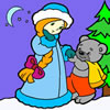 Snow Maiden and Little Bear Coloring